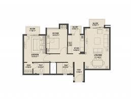 sq ft apartment floor plan modern monsoon breeze gurgaon 2bhk