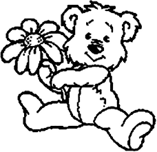 cute teddy bear give you a rose coloring page cute teddy bear