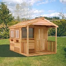 Backyard Cabin Cedar Shed Log Cabin Cedar Playhouse Hayneedle