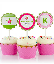 cupcake toppers sea turtle birthday party cupcake toppers