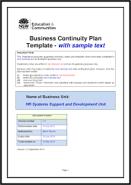 Free Business Meeting Agenda Template by Business Continuity Plan Template Free Download Mughals