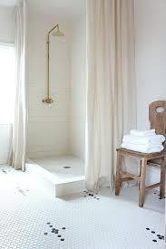 White Linen Shower Curtain Blue Herringbone Shower Curtain Transitional Bathroom