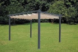gazebo telo luxurygarden aluminium gazebo pergola with retractable cover cm