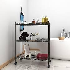 Shelves On Wheels by Amazon Com Homdox 3 Tire Wire Shelving Unit With Wheels Gray