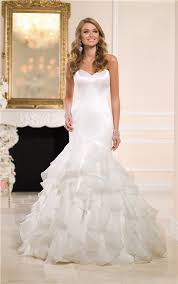 mermaid sweetheart satin organza ruffle wedding dress with buttons