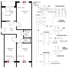 three room apartment ventilation with exhaust air heat pump solution in three room
