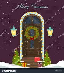 Front Door House House Door Decoration Christmas Holidaysfront Door Stock Vector