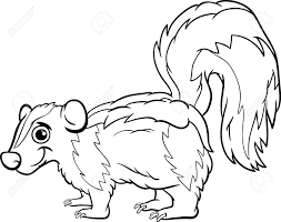black and white cartoon illustration of cute skunk animal for