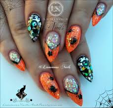 luminous nails halloween acrylic nails with scary creepy spiders