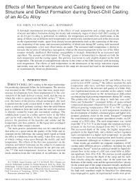 effects of melt temperature and casting speed on the structure and