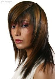 johnbeerens hairstyler long hairstyle with streaks and long bangs with a peek a boo effect