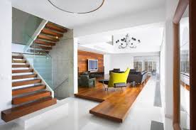 interior design minimalist home modern stair model and wooden laddersteps closed sleek floor near