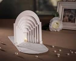 3d pop up white church laser cut christian wedding invitations