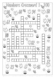 worksheet numbers crossword 1 to 100