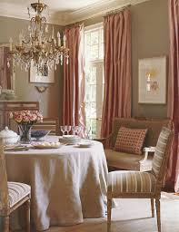 traditional dining room pink curtains very classy decor