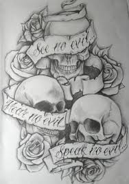 see no evil hear no evil speak no evil skull design 9