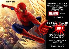 invitations spiderman birthday invitations
