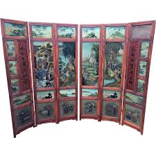vintage oriental privacy screen w reverse painted glass 6 panels