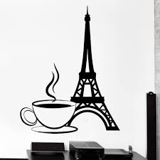 aliexpress com buy wall decal paris france eiffel tower cup of aliexpress com buy wall decal paris france eiffel tower cup of coffee love vinyl decal from reliable wall decals suppliers on homely
