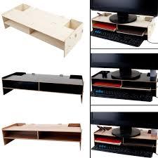 Desk Organizer Shelves Besegad Decorative Wood Desktop Monitor Stand Riser Holder