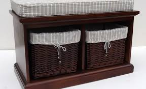 Wicker Storage Bench Bench Wicker Bench Beautiful Bench With Baskets Underneath