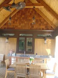 Covered Porch Covered Porch And Outdoor Kitchen With Cedar Shake Cedar Beams