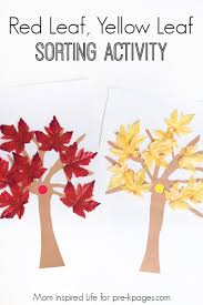 red leaf yellow leaf sorting activity pre k pages