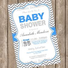 boy baby shower invitation blue and grey chevron printable