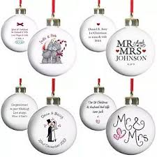 personalised tree baubles 1st christmas married winter wedding
