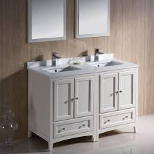 Modern Double Sink Bathroom Vanity by Bahtroom Glass Artwork Beside Antique White Double Sink Bathroom