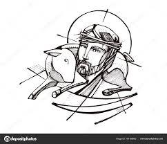 jesus christ good shepherd u2014 stock vector bernardojbp 157188500