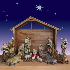 30 inch 14 artisan nativity set with stable
