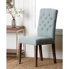 Blue Upholstered Dining Chairs Living Colin Blue Linen Tufted Dining Chair