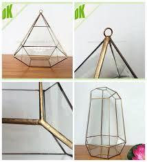 Clear Glass Vases With Lids Cube Stained Glass Geometric Air Planter Container Vase Clear
