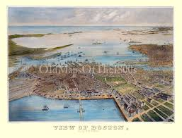 Old Boston Map by Boston Ma In 1870 Bird U0027s Eye View Map Aerial Panorama