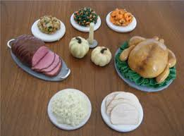 miniature thanksgiving food doll sized