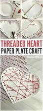 threaded heart paper plate craft for valentines day paper plate