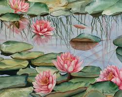 water lily painting print watercolour painting home decor