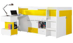 bureau enfant gain de place lit combine avec bureau coulissant et commodes yello mobiler