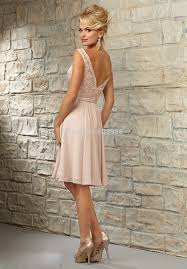 ct0024 cheap party dress v neck coral peach pink knee length