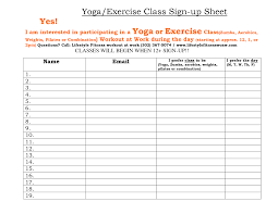 fitness sign up sheet staff sign up sheet ideas of class