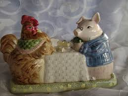 fitz floyd covered butter dish pig rooster fitz and floyd