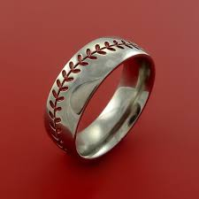 baseball jewelry titanium baseball ring with stitching fan band any size and