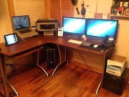 Techni Mobili Graphite Frosted Glass L Shaped Computer Desk Desk Techni Mobili Tempered Glass Top Computer Desk Techni