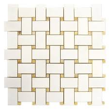 thassos white polished basketweave pattern with honey onyx dot