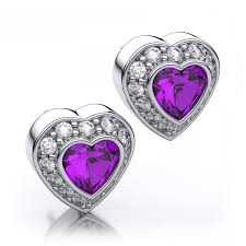 18ct white gold diamond amethyst ct white gold diamond and heart shaped amethyst drop earrings p