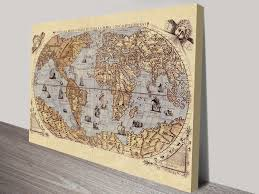World Map Wood Wall Art by Medieval World Map Canvas Art Print