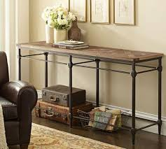 wood and iron sofa table wood top industrial cast iron base console table