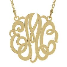 monogram necklace pendant gold silver monogram necklace