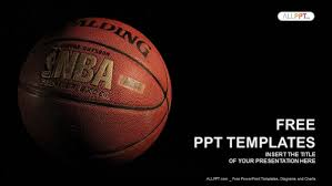 a basketball with a dark background powerpoint templates